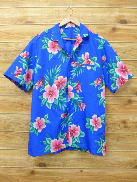 L★古着 ハワイアン シャツ 90年代 ハイビスカス 青 ブルー 18jun04 中古 メンズ 半袖 アロハ トップス