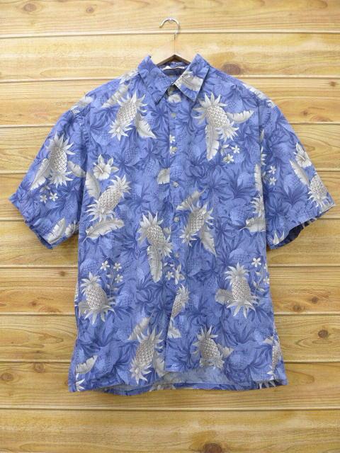 XL★古着 ハワイアン シャツ パイナップル 薄紫系 パープル 18jun04 中古 メンズ 半袖 アロハ トップス