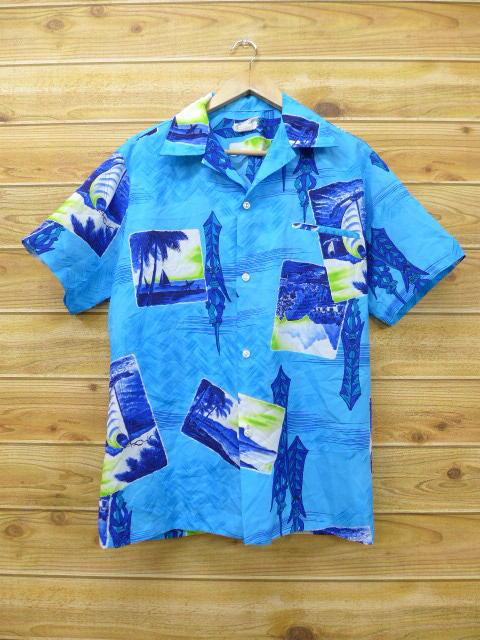 L★古着 ハワイアン シャツ 80年代 ティキ ヤシの木 ハワイ製 水色 18jun04 中古 メンズ 半袖 アロハ トップス