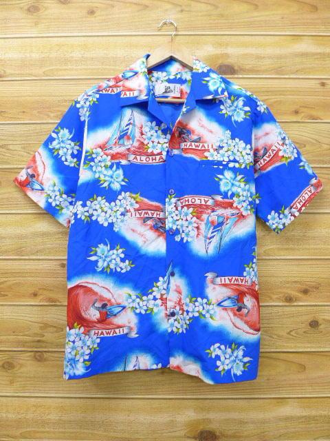 L★古着 ハワイアン シャツ 80年代 サーフィン ヨット ハワイ製 青 ブルー 18jun04 中古 メンズ 半袖 アロハ トップス