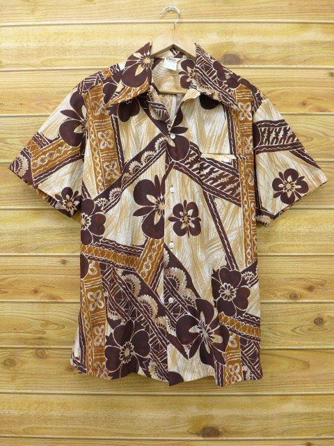 L★古着 ハワイアン シャツ 70年代 花 ハワイ製 こげ茶 ブラウン 18jun04 中古 メンズ 半袖 アロハ トップス