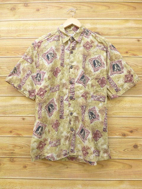 L★古着 ハワイアン シャツ 石像 ハワイ製 ベージュ カーキ 18jun25 中古 メンズ 半袖 アロハ トップス