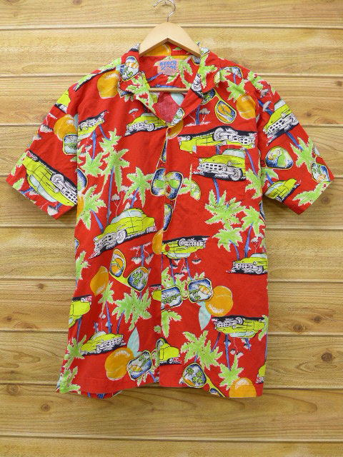 L★古着 ハワイアン 90年代 シャツ 車 ヤシの木 赤 レッド 18jun25 中古 メンズ 半袖 アロハ トップス