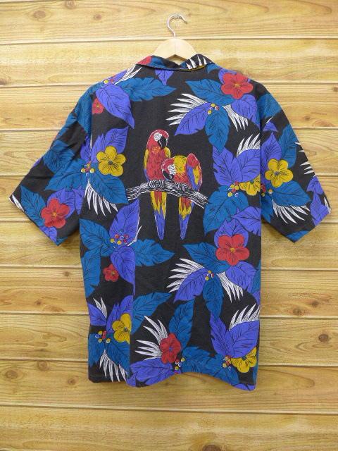 XL★古着 ハワイアン シャツ 80年代 鳥 花 大きいサイズ 黒 ブラック 【spe】 18jun25 中古 メンズ 半袖 アロハ トップス