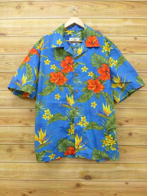 XL★古着 ハワイアン シャツ ハイビスカス 大きいサイズ 青 ブルー 18jun25 中古 メンズ 半袖 アロハ トップス
