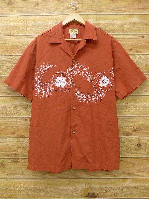 XL★古着 ハワイアン シャツ 80年代 花 大きいサイズ エンジ 【spe】 18jun25 中古 メンズ 半袖 アロハ トップス