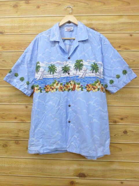 XL★古着 ハワイアン シャツ ハイビスカス ヨット ハワイ製 水色 18jun25 中古 メンズ 半袖 アロハ トップス