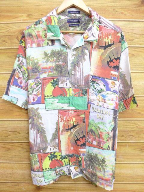 XL★古着 ハワイアン シャツ ヤシの木 写真 レーヨン 大きいサイズ オレンジ他 18jun27 中古 メンズ 半袖 アロハ トップス