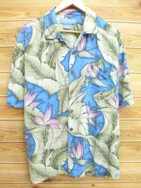 XL★古着 ハワイアン シャツ 葉 シルク 水色系 18jun27 中古 メンズ 半袖 アロハ トップス