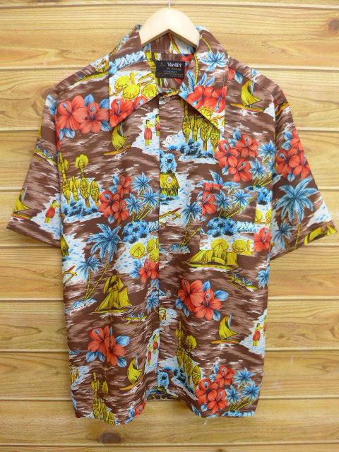 XL★古着 ハワイアン シャツ 70年代 ハイビスカス ヤシの木 茶 ブラウン 18jun27 中古 メンズ 半袖 アロハ トップス