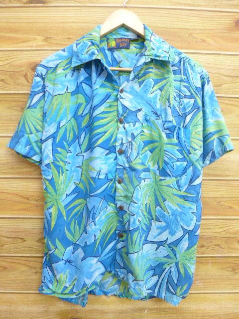L★古着 ハワイアン シャツ 90年代 葉 レーヨン 水色系 18jun28 中古 メンズ 半袖 アロハ トップス