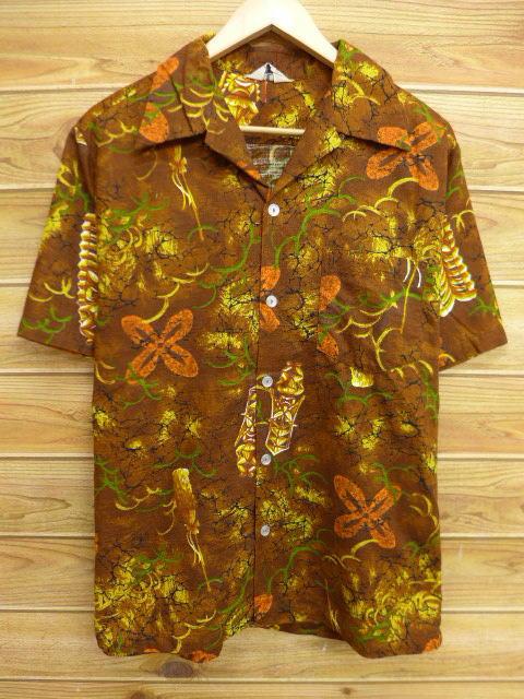 L★古着 ハワイアン シャツ 70年代 岩 ハワイ製 茶 ブラウン 18jun28 中古 メンズ 半袖 アロハ トップス