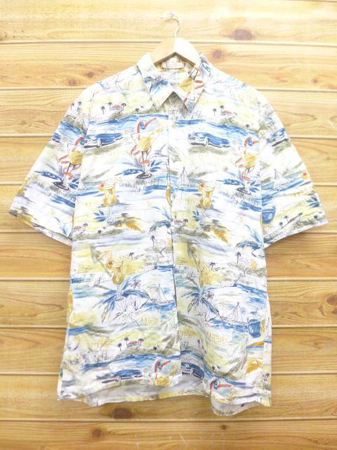 XL★古着 ハワイアン シャツ 車 ドリンク 大きいサイズ 白他 ホワイト 18jul04 中古 メンズ 半袖 アロハ トップス