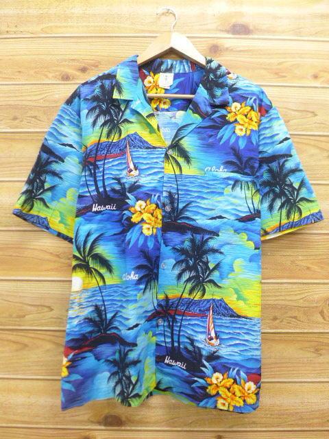 XL★古着 ハワイアン シャツ 80年代 ヤシの木 ハイビスカス ハワイ製 青 ブルー 18jul04 中古 メンズ 半袖 アロハ トップス