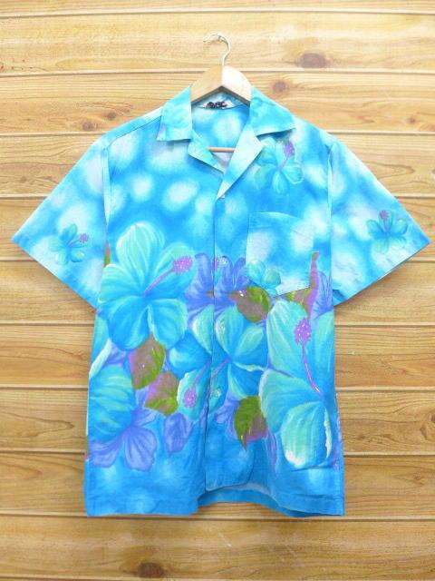 L★古着 ハワイアン シャツ 70年代 ハイビスカス ハワイ製 水色 【spe】 18jul04 中古 メンズ 半袖 アロハ トップス