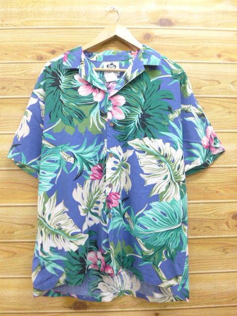 XL★古着 ハワイアン シャツ 花 大きいサイズ ハワイ製 紺 ネイビー 18jul04 中古 メンズ 半袖 アロハ トップス