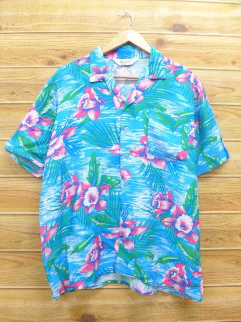 XL★古着 ハワイアン シャツ 80年代 ハイビスカス レーヨン 水色 18jul04 中古 メンズ 半袖 アロハ トップス