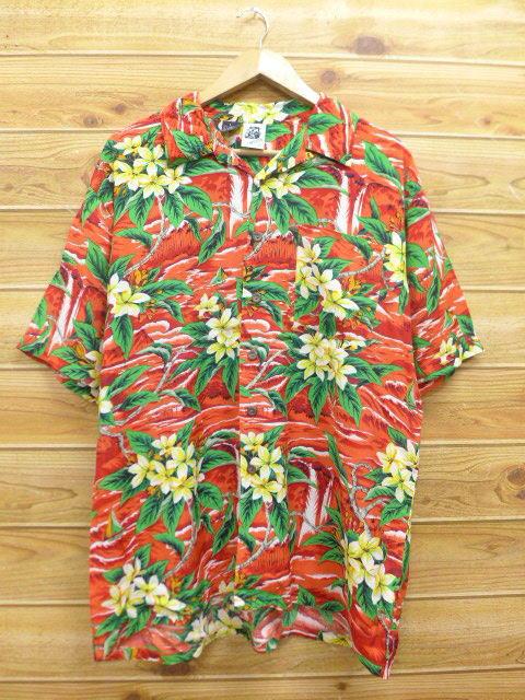 XL★古着 ハワイアン シャツ 70年代 ケニントン ハイビスカス レーヨン 赤 レッド 18jul04 中古 メンズ 半袖 アロハ トップス