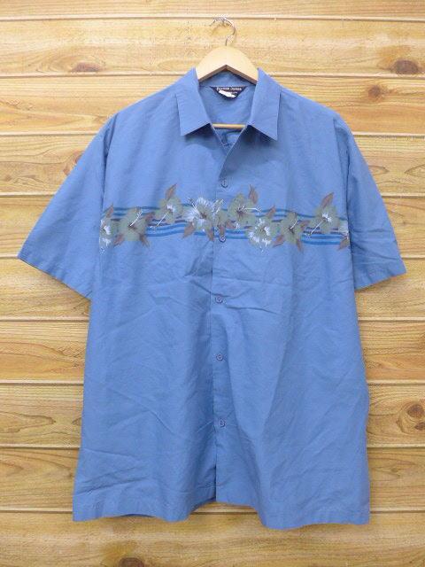 XL★古着 ハワイアン シャツ 80年代 ハイビスカス 大きいサイズ USA製 薄紺 ネイビー 【spe】 18jul06 中古 メンズ 半袖 アロハ トップス