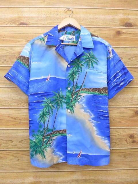 L★古着 ハワイアン シャツ 80年代 ヨット ヤシの木 ハワイ製 青 ブルー 18jul06 中古 メンズ 半袖 アロハ トップス