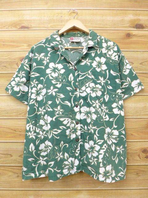 XL★古着 ハワイアン シャツ ハイビスカス 大きいサイズ ハワイ製 緑 グリーン 18jul06 中古 メンズ 半袖 アロハ トップス