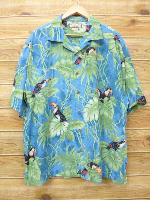XL★古着 ハワイアン シャツ 鳥 大きいサイズ シルク 薄紺他 ネイビー 18jul06 中古 メンズ 半袖 アロハ トップス