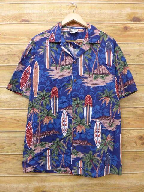 L★古着 ハワイアン シャツ サーフボード ヤシの木 ハイビスカス ハワイ製 紺 ネイビー 18jul06 中古 メンズ 半袖 アロハ トップス