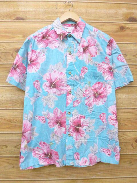 L★古着 ハワイアン シャツ ハイビスカス USA製 水色 18jul06 中古 メンズ 半袖 アロハ トップス