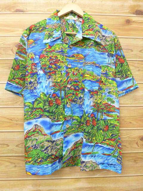 XL★古着 ハワイアン シャツ 80年代 ヤシの木 滝 大きいサイズ 水色他 18jul06 中古 メンズ 半袖 アロハ トップス