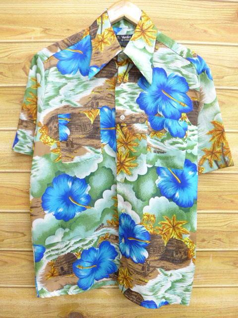 L★古着 ハワイアン シャツ 70年代 ハイビスカス 緑系 グリーン 18jul09 中古 メンズ 半袖 アロハ トップス