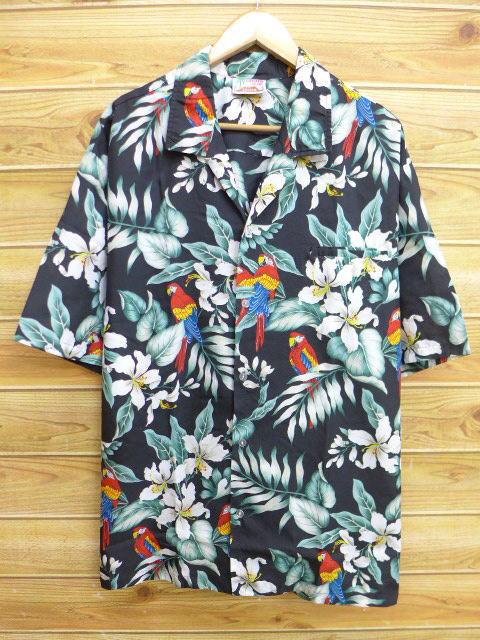 XL★古着 ハワイアン シャツ 90年代 花 鳥 ハワイ製 大きいサイズ 黒 ブラック 18jul09 中古 メンズ 半袖 アロハ トップス
