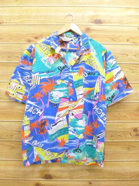 L★古着 ハワイアン シャツ 80年代 ヤシの木 人 USA製 青 ブルー 【spe】 18jul09 中古 メンズ 半袖 アロハ トップス
