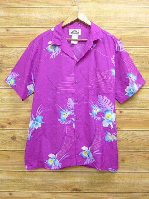 XL★古着 ハワイアン シャツ 花 大きいサイズ ハワイ製 紫 パープル 18jul12 中古 メンズ 半袖 アロハ トップス