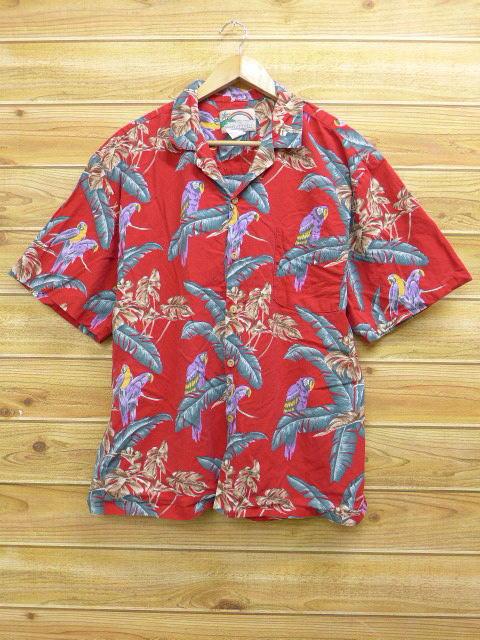 XL★古着 ハワイアン シャツ 島 ハワイ製 赤 レッド 18jul12 中古 メンズ 半袖 アロハ トップス