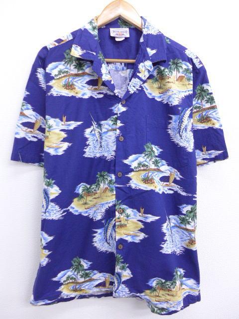L★古着 ハワイアン シャツ 90年代 パシフィックレジェンド カジキ ヤシの木 ハワイ製 青 ブルー 19jun17 中古 メンズ 半袖 アロハ トップス