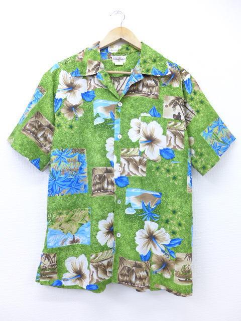 L★古着 ハワイアン シャツ 80年代 ハイビスカス ハワイ製 緑 グリーン 【spe】 19jul10 中古 メンズ 半袖 アロハ トップス