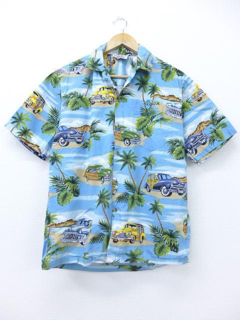 L★古着 ハワイアン シャツ 車 ハワイ製 水色 【spe】 19jul10 中古 メンズ 半袖 アロハ トップス