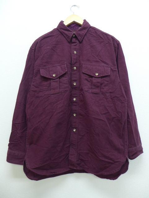 XL★古着 長袖 フランネル シャツ 90年代 エディーバウアー 紫 パープル 18nov20 中古 メンズ トップス