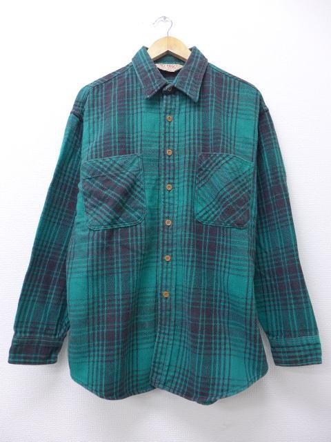 XL★古着 長袖 ヘビー フランネル シャツ 90年代 ビッグマック BIG MAC 大きいサイズ 緑 グリーン チェック 【spe】 19mar20 中古 メンズ トップス