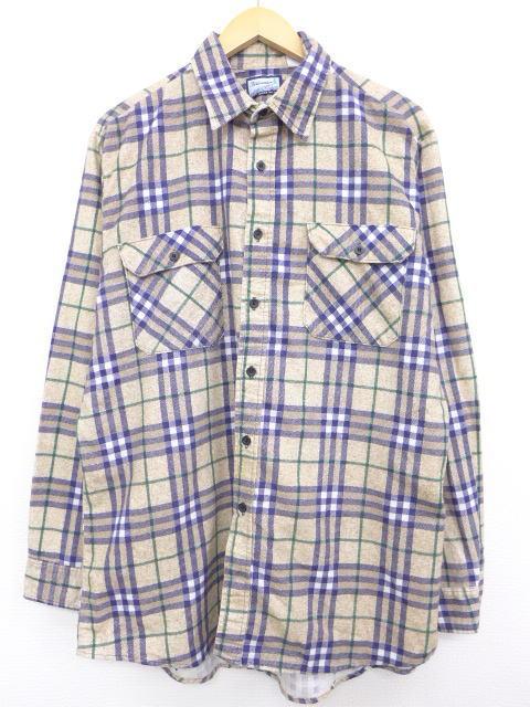 XL★古着 長袖 フランネル シャツ 80年代 大きいサイズ USA製 茶 ブラウン チェック 【spe】 19may10 中古 メンズ トップス