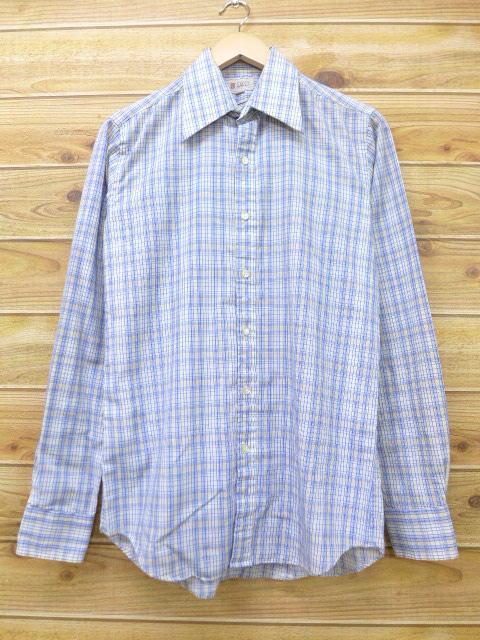 S★古着 長袖 シャツ 80年代 薄紺 ネイビー チェック 18apr25 中古 メンズ トップス