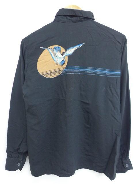 S★古着 長袖 シャツ 80年代 鳥 月 レーヨン 黒 ブラック 【spe】 18dec04 中古 メンズ トップス