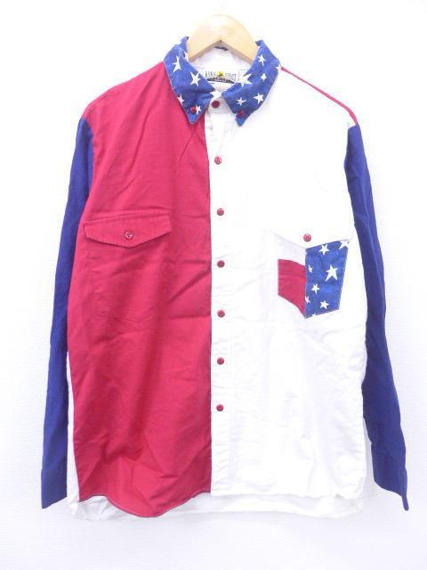 L★古着 長袖 シャツ 90年代 星条旗 マルチカラー USA製 紺他 ネイビー 【spe】 19mar13 中古 メンズ トップス