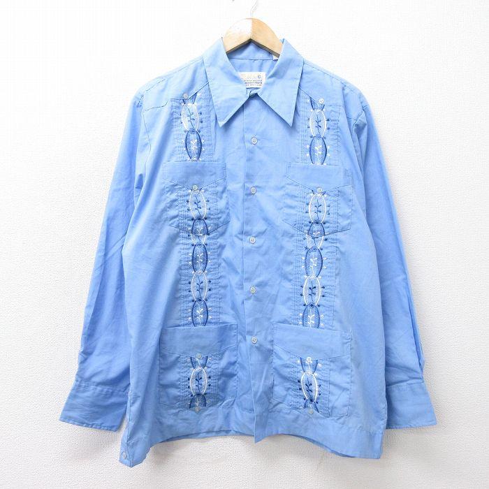 XL★古着 長袖 キューバ シャツ メンズ 80年代 80s 刺繍 薄紺 ネイビー 【spe】 21oct11 中古 トップス