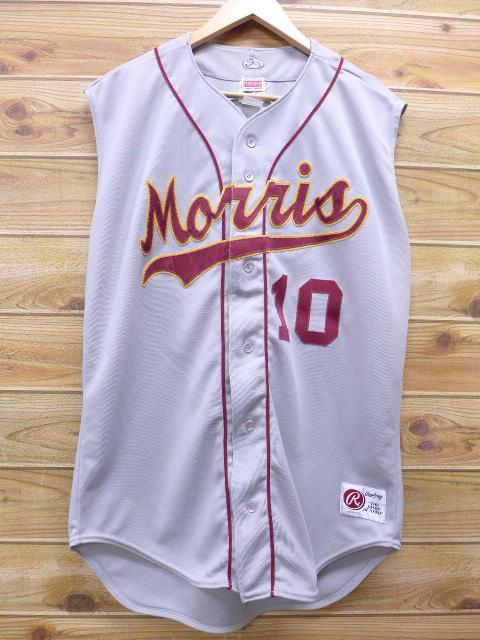 XL★古着 ノースリーブ ベースボール シャツ ローリングス 大きいサイズ USA製 グレー 18apr03 中古 メンズ トップス