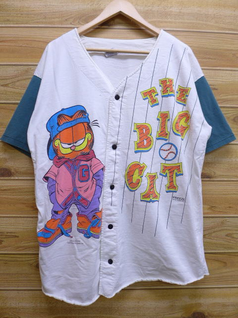 XL★古着 半袖 ベースボール シャツ 90年代 ガーフィールド USA製 白 ホワイト 【spe】 18apr26 中古 メンズ トップス