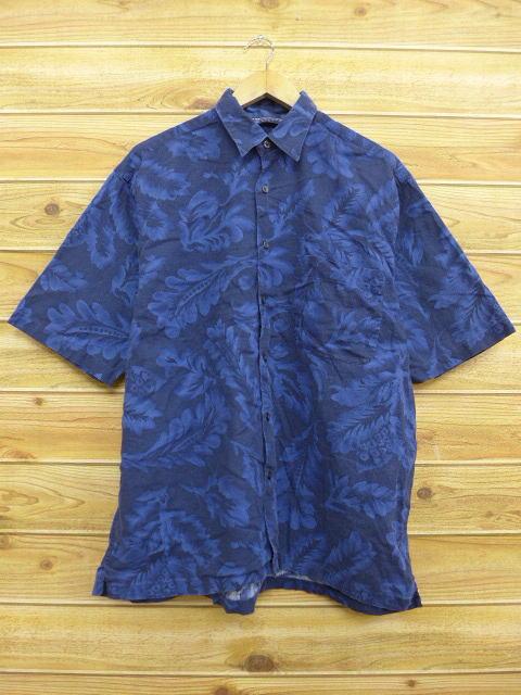 XL★古着 半袖 シャツ 90年代 ノーティカ NAUTICA 葉 大きいサイズ 紺 ネイビー 【spe】 18apr27 中古 メンズ トップス