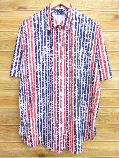 XL★古着 半袖 シャツ 90年代 大きいサイズ 白他 ホワイト ストライプ 18may10 中古 メンズ トップス