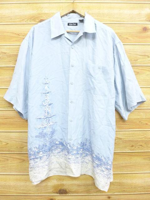 XL★古着 半袖 シャツ 噴水 シルク 大きいサイズ 水色 18may21 中古 メンズ トップス