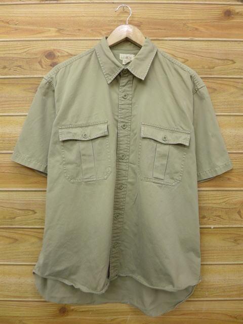 XL★古着 半袖 シャツ 90年代 ジェイクルー J.CREW 大きいサイズ ベージュ カーキ 18may29 中古 メンズ トップス